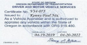 Oregon Certified Auto Appraiser's license Ken Nix